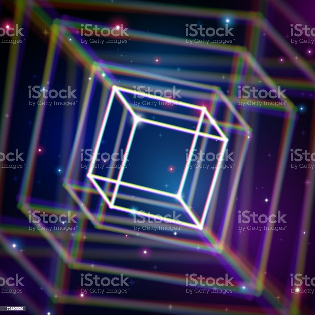 Shiny cube with color aberrations in space vector art illustration