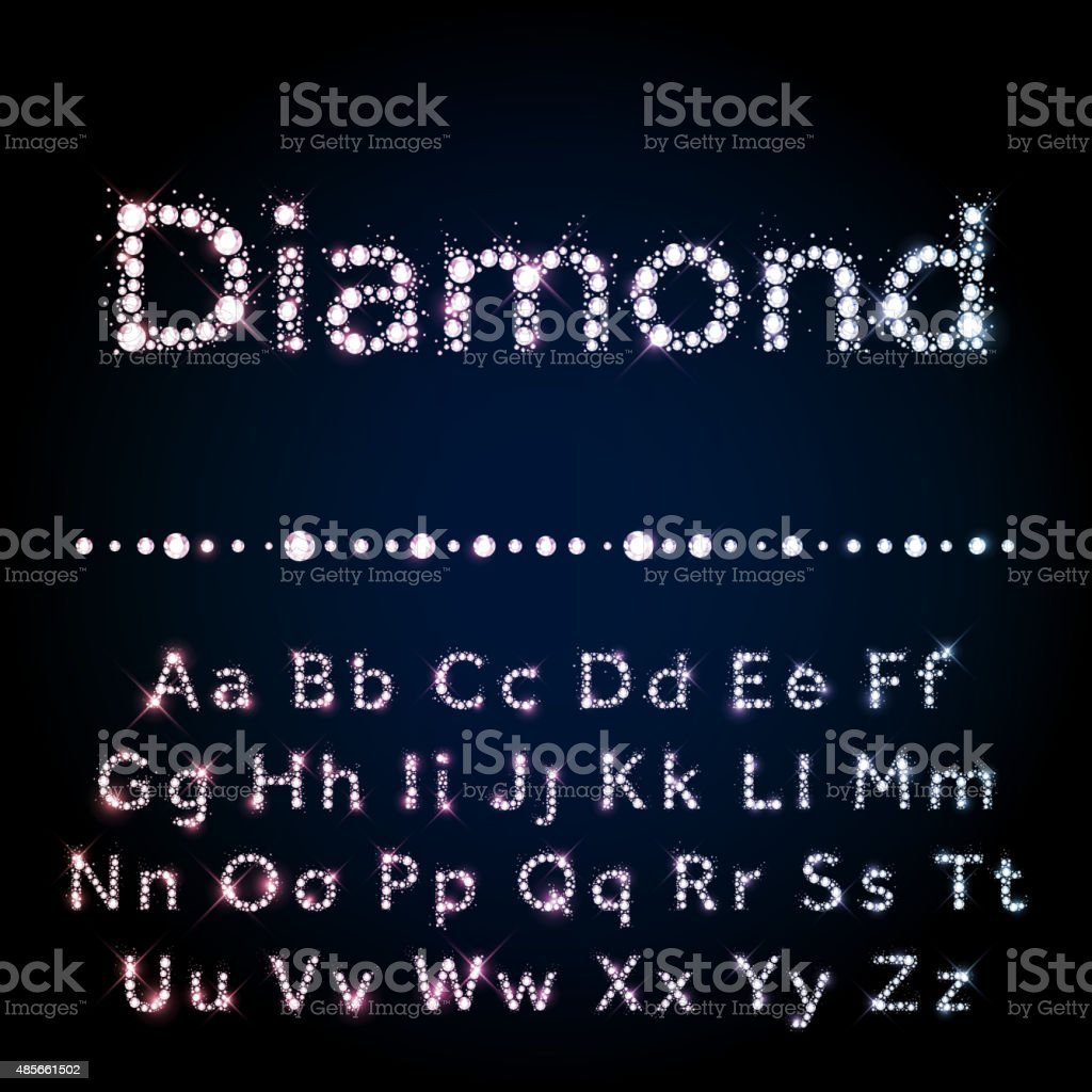 Shiny diamond font set A to Z uppercase and lowercase vector art illustration