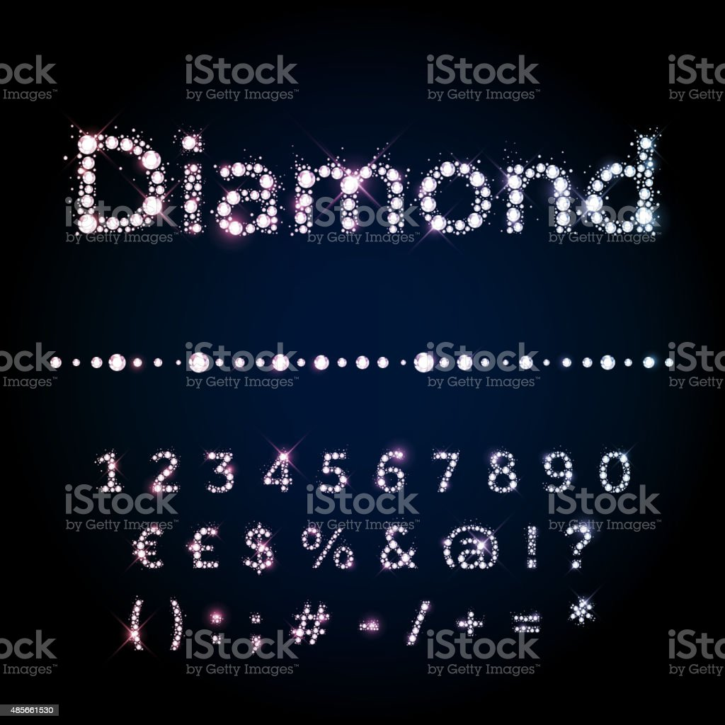 Shiny diamond font set numbers and special symbols vector art illustration