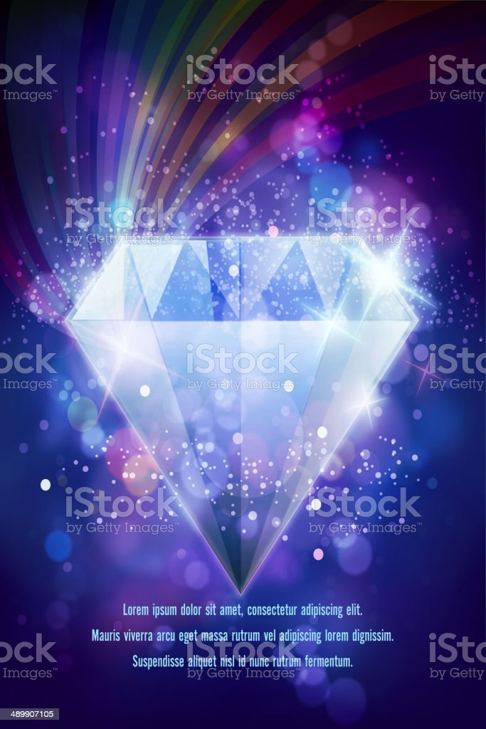 Shiny Diamond on Defocused Background with Sparkle royalty-free stock vector art