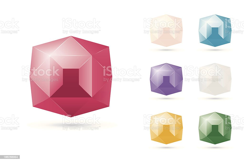 Shiny Diamonds and Jewels Icon Set royalty-free stock vector art