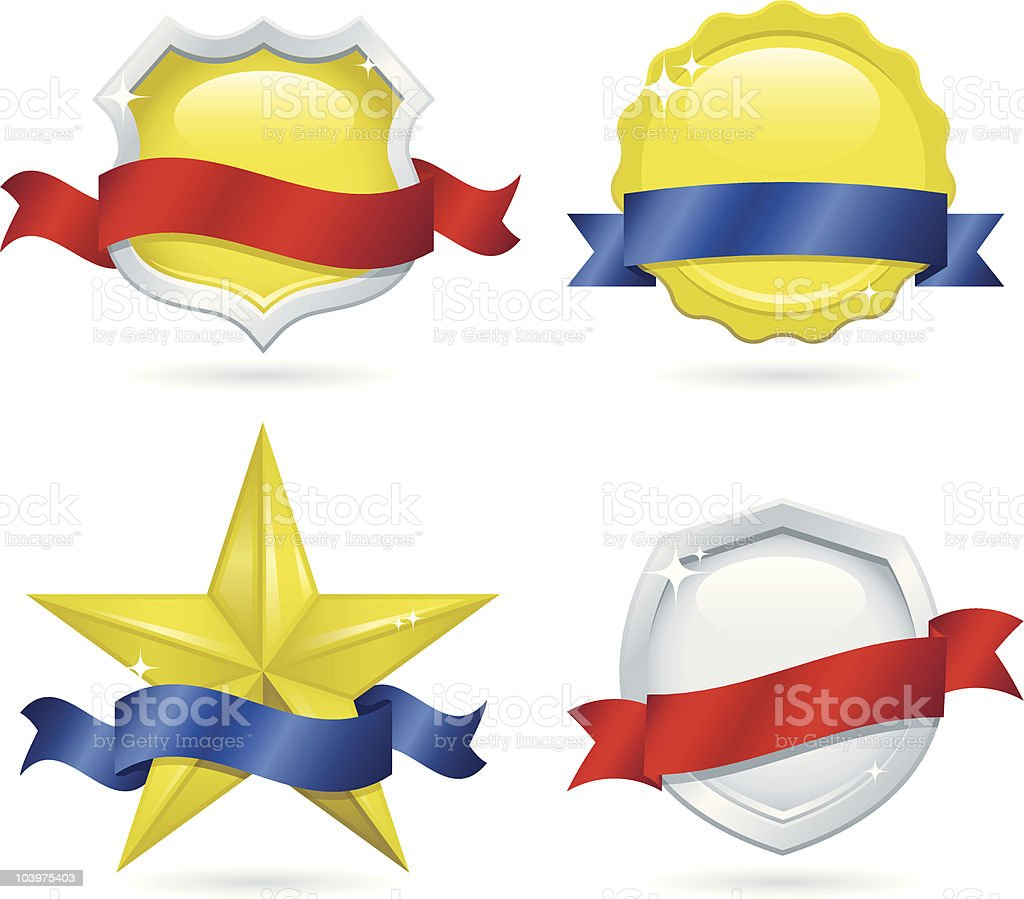 Shiny Emblems and Banners royalty-free stock vector art