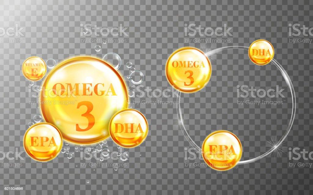 Shiny fish oil nutritions vector art illustration