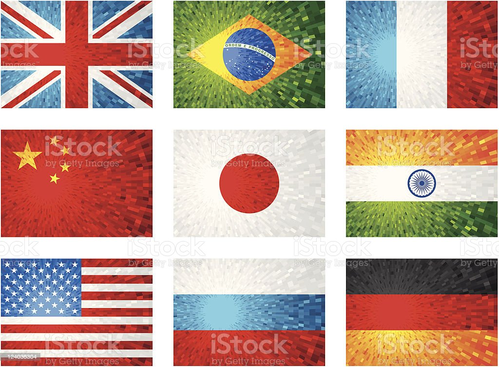 Shiny flags set royalty-free stock vector art