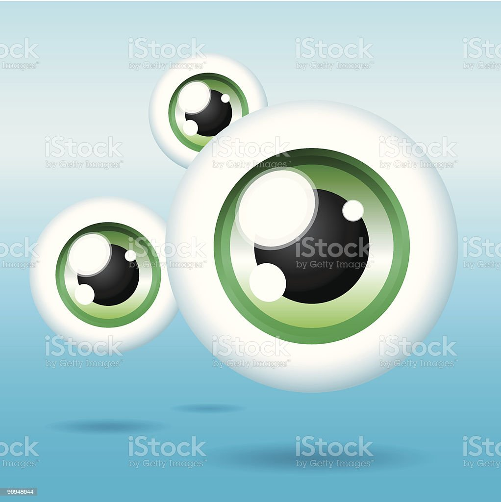 Shiny, floating cartoon eyes royalty-free stock vector art