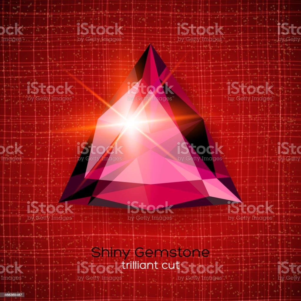 Shiny gemstone on textured background vector art illustration