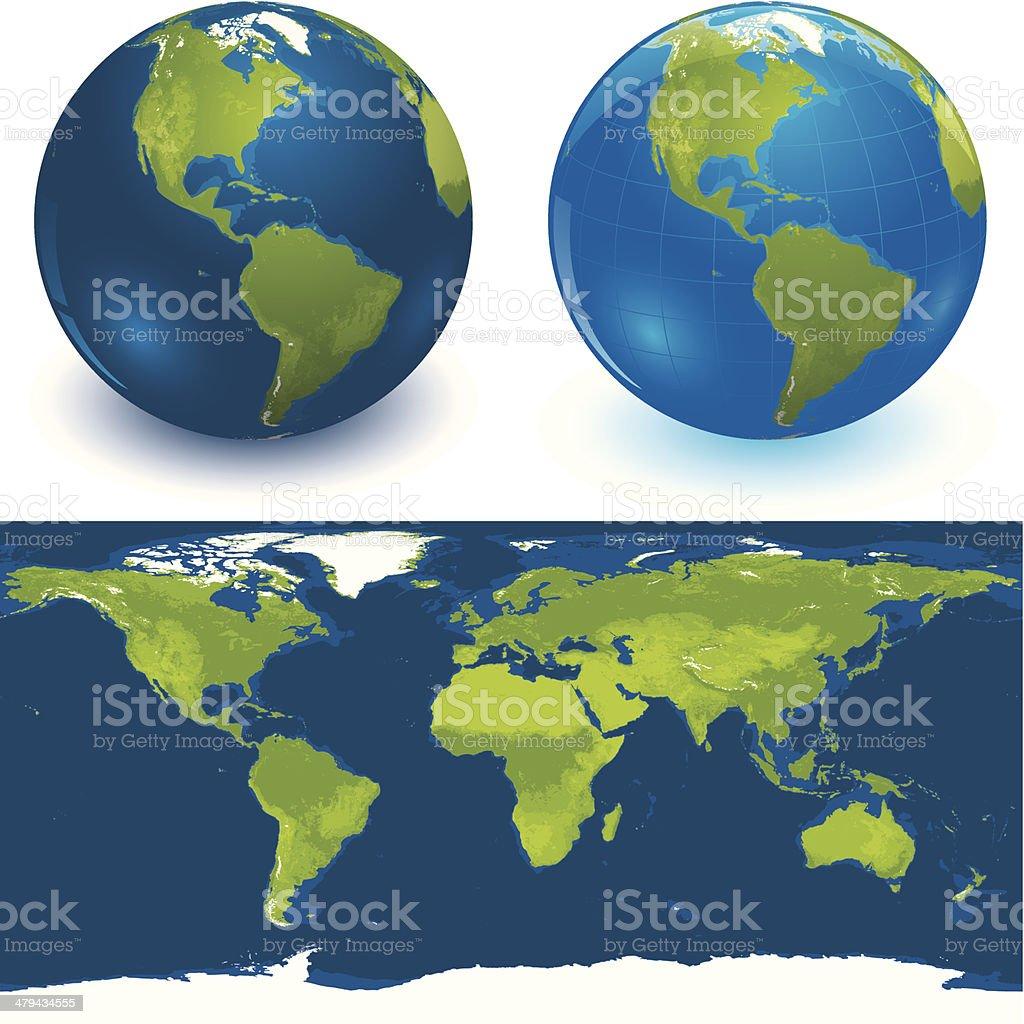 Shiny globes and world map vector art illustration