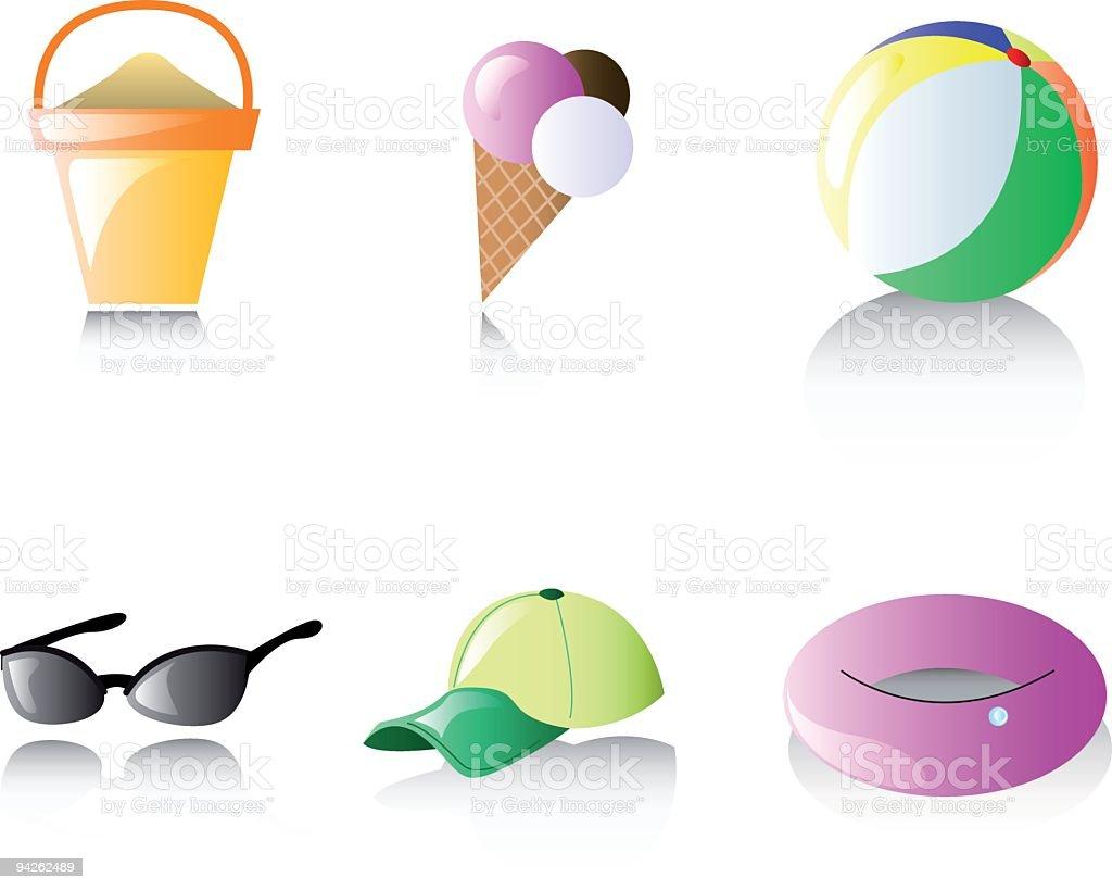 Shiny glossy icons: Beach royalty-free stock vector art