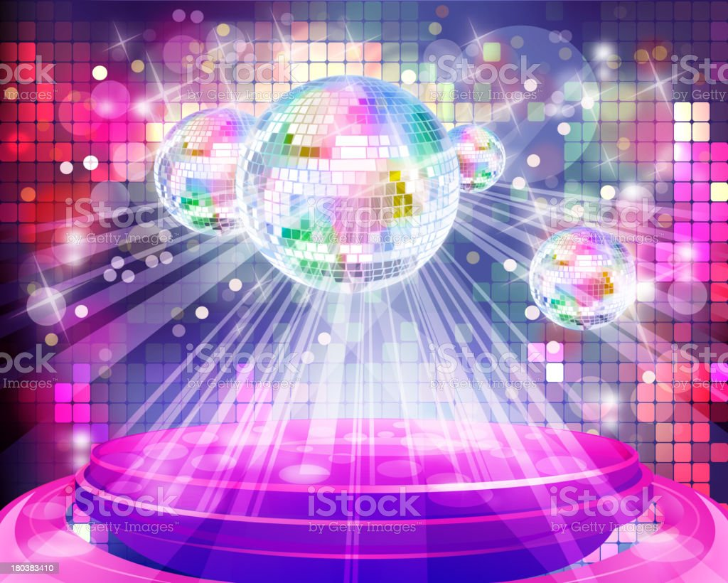 Shiny Glossy Stage with Disco Balls for Dancing royalty-free stock vector art