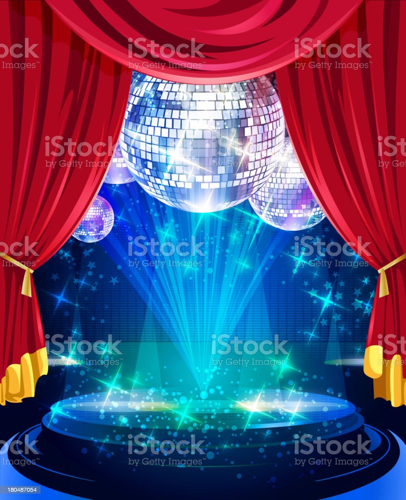 Shiny Glossy Stage with Disco Balls royalty-free stock vector art