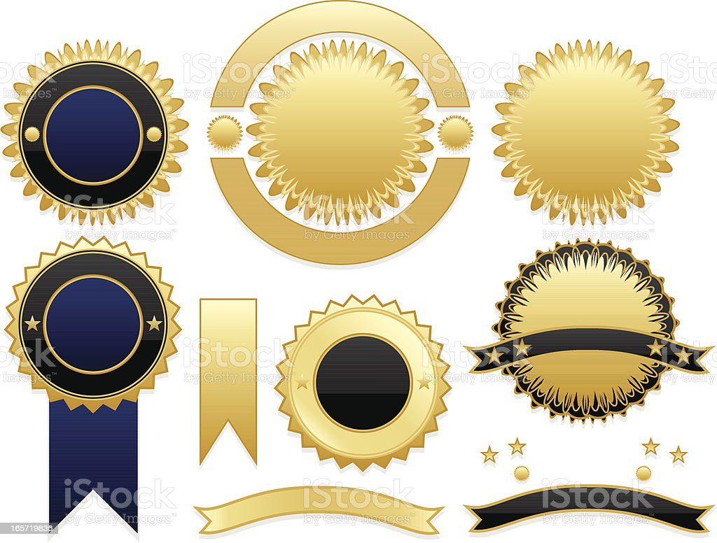 Shiny Gold, Blue, Black Seals and Stickers Set royalty-free stock vector art
