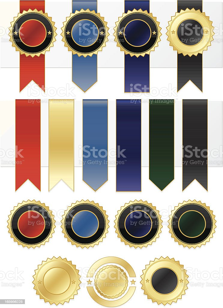 Shiny Gold, Blue, Red, Purple, Green, Black Stickers, Ribbons Set royalty-free stock vector art
