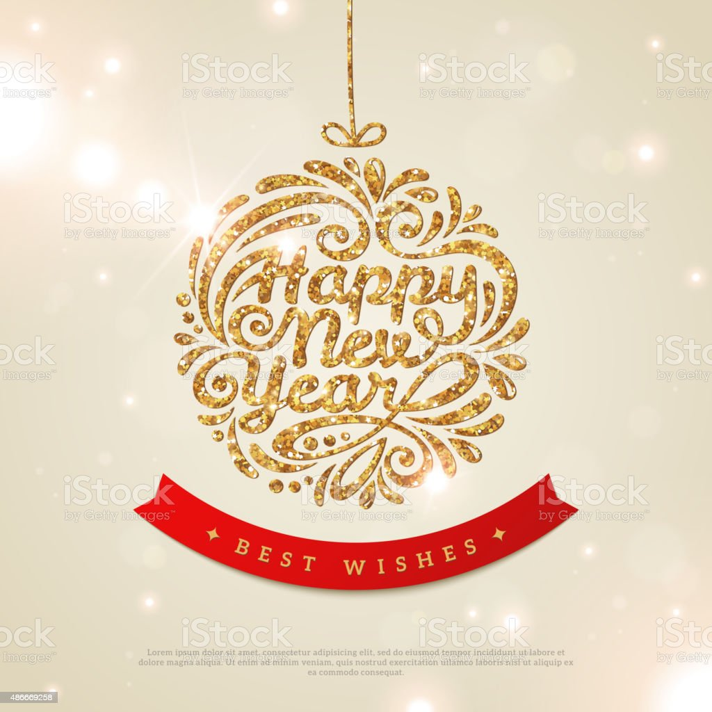 Shiny Gold Christmas Bauble with Sequins. vector art illustration