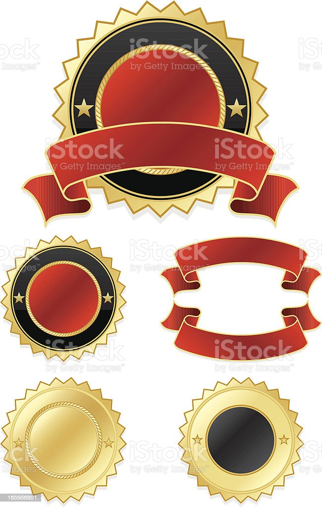 Shiny Gold, Red, Black Stickers, Ribbons Set royalty-free stock vector art