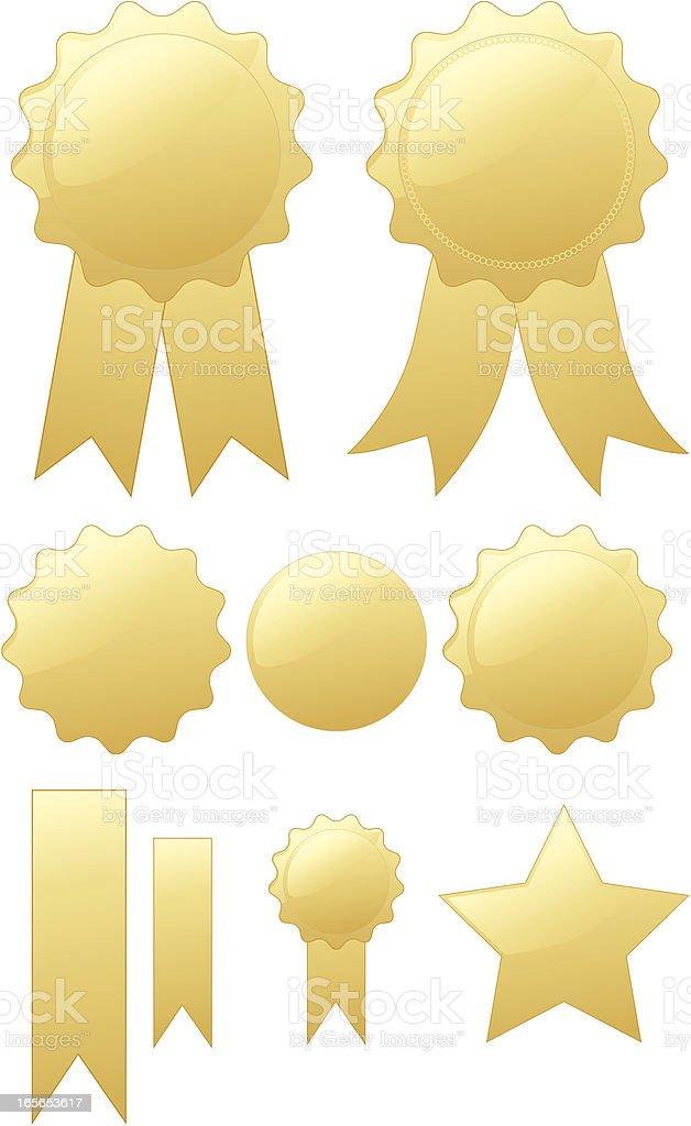 Shiny Gold Round Seals, Medals Design Elements Set, Optional Ribbons vector art illustration