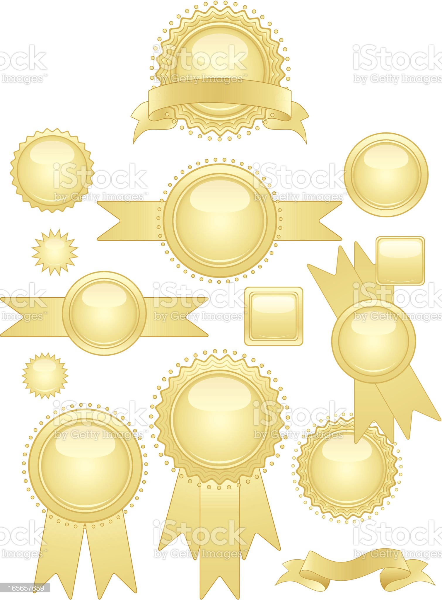 Shiny Gold Seals and Stickers Set royalty-free stock vector art