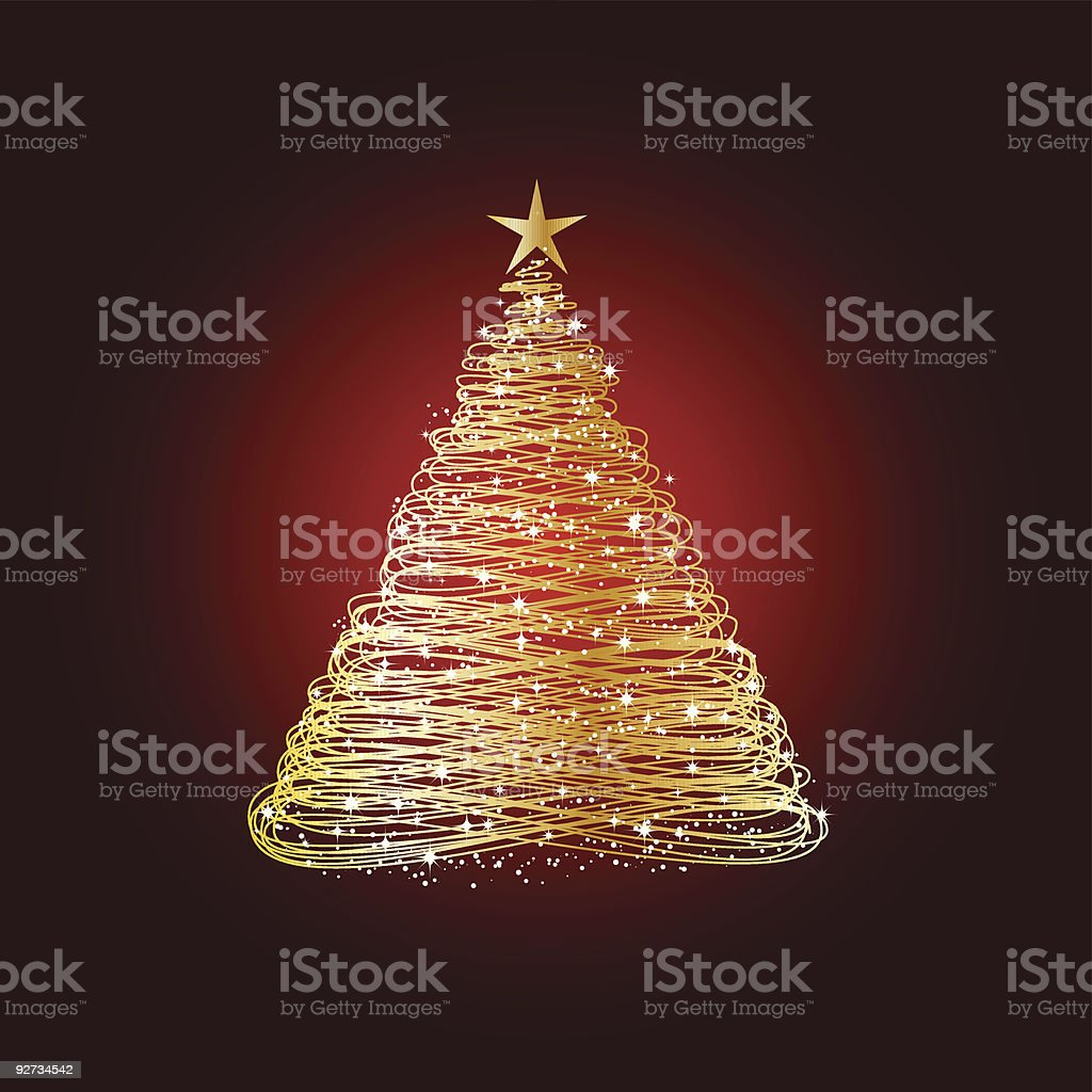 A shiny golden Christmas tree on red shaded background royalty-free stock vector art