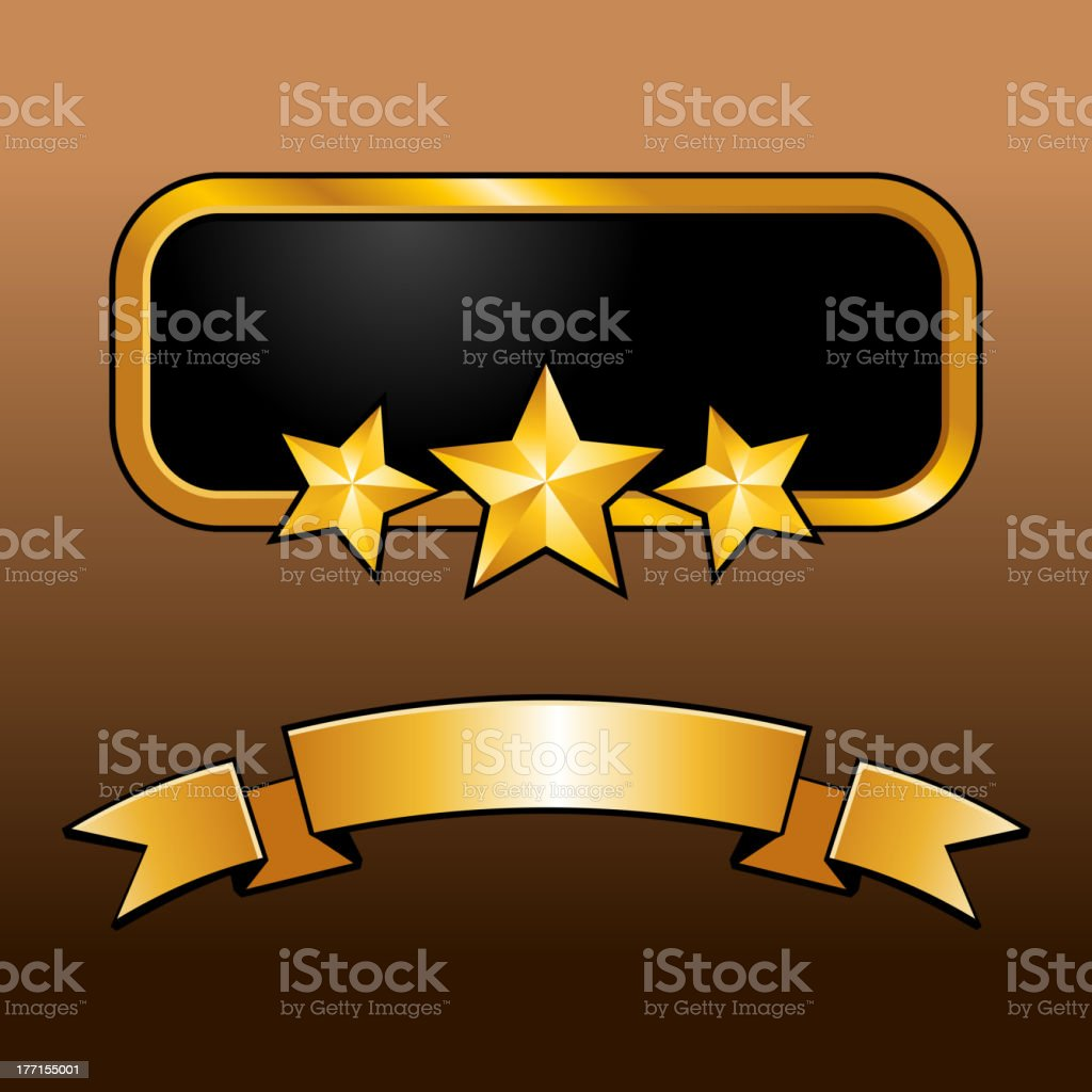 Shiny golden label with star and ribbon royalty-free stock vector art