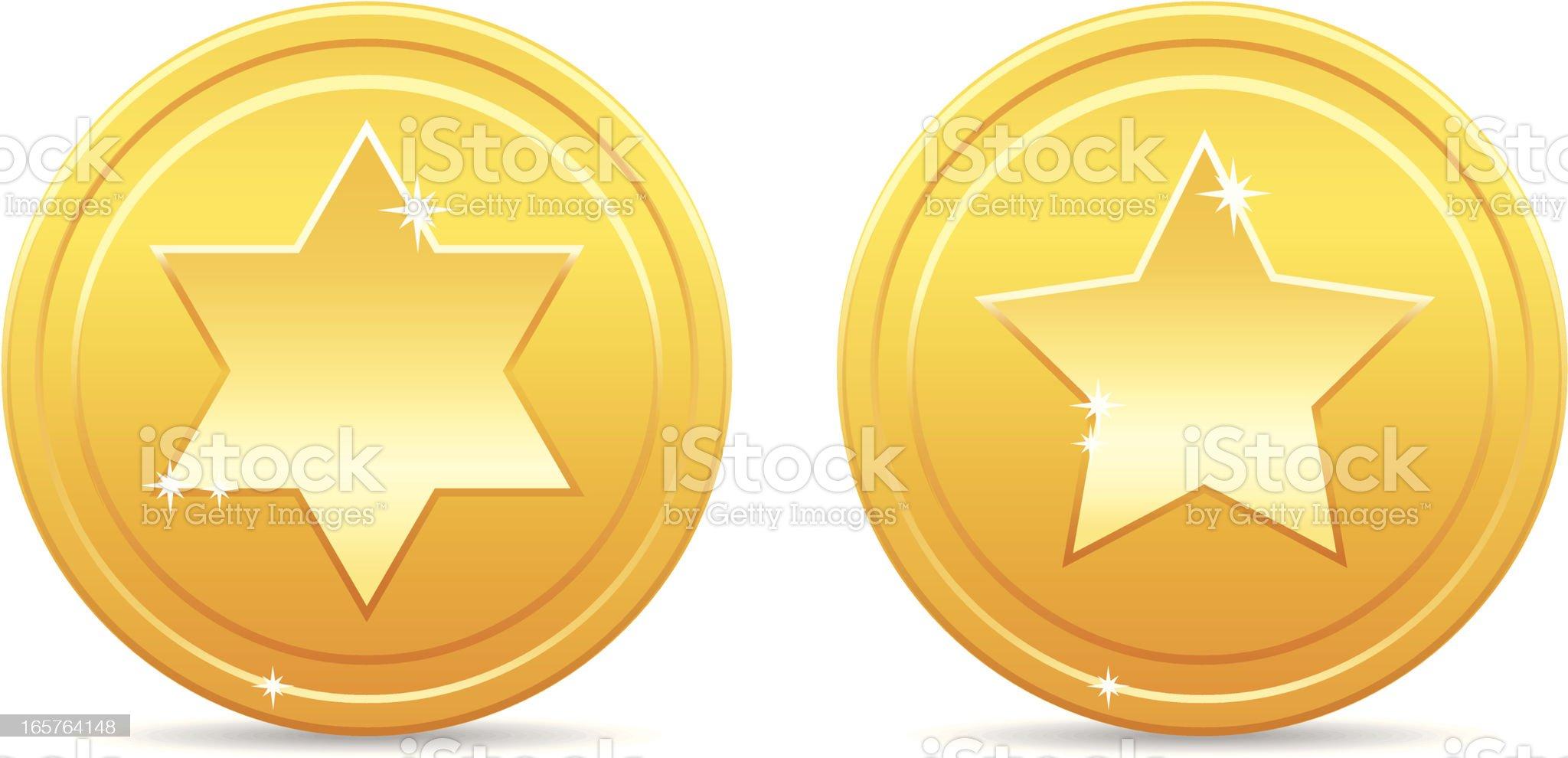 Shiny golden star coins royalty-free stock vector art