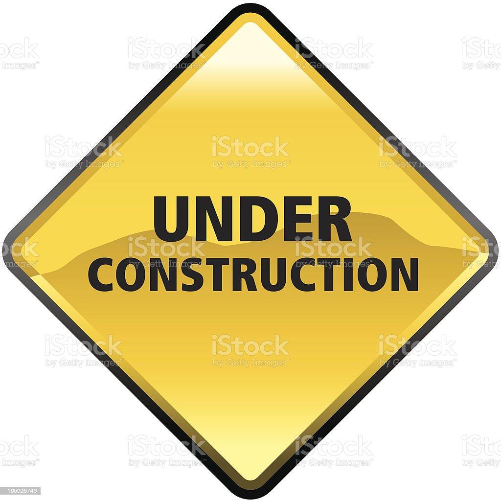 Shiny golden under construction warning sign royalty-free stock vector art