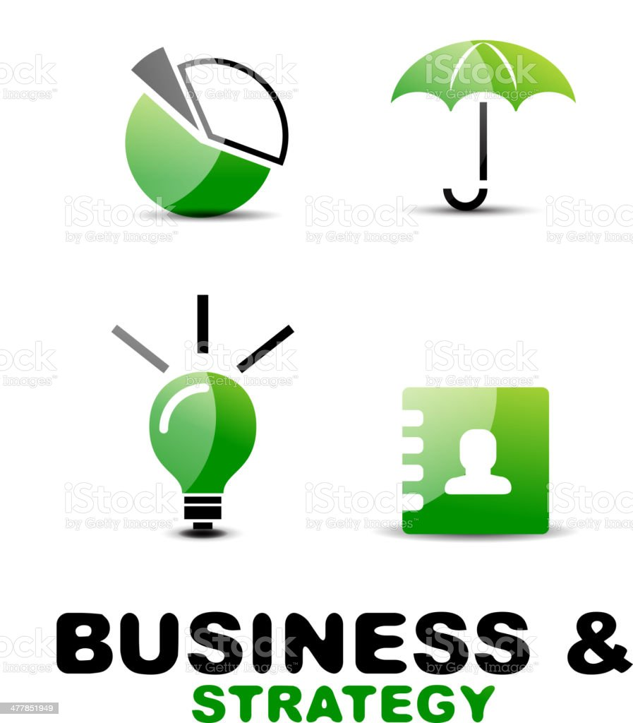 Shiny green and black business icons royalty-free stock vector art