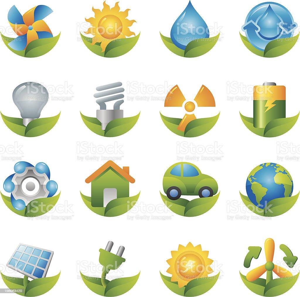 Shiny Green Energy Eco Icons vector art illustration