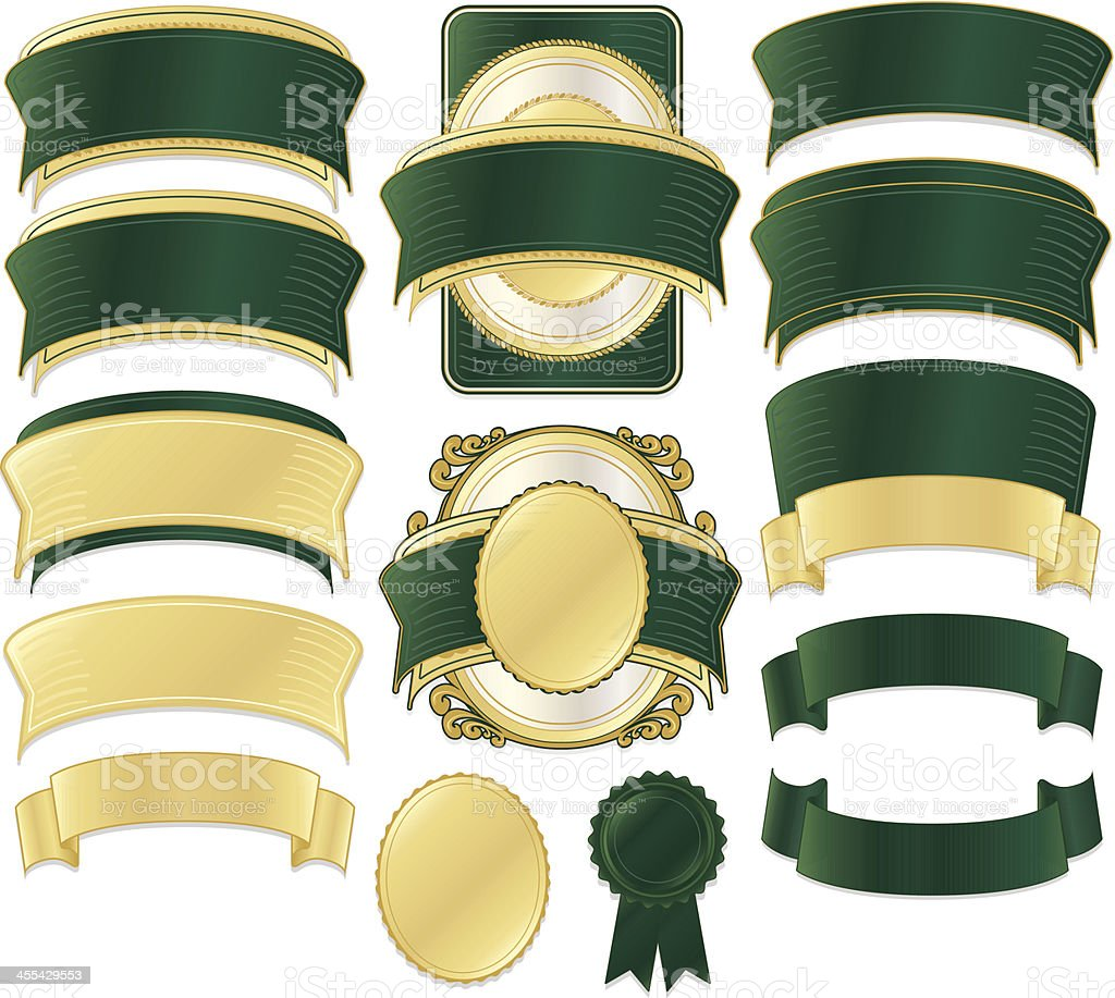 Shiny Green, Gold Satin, Metallic Ribbons, Stickers, Labels, Banners Set royalty-free stock vector art