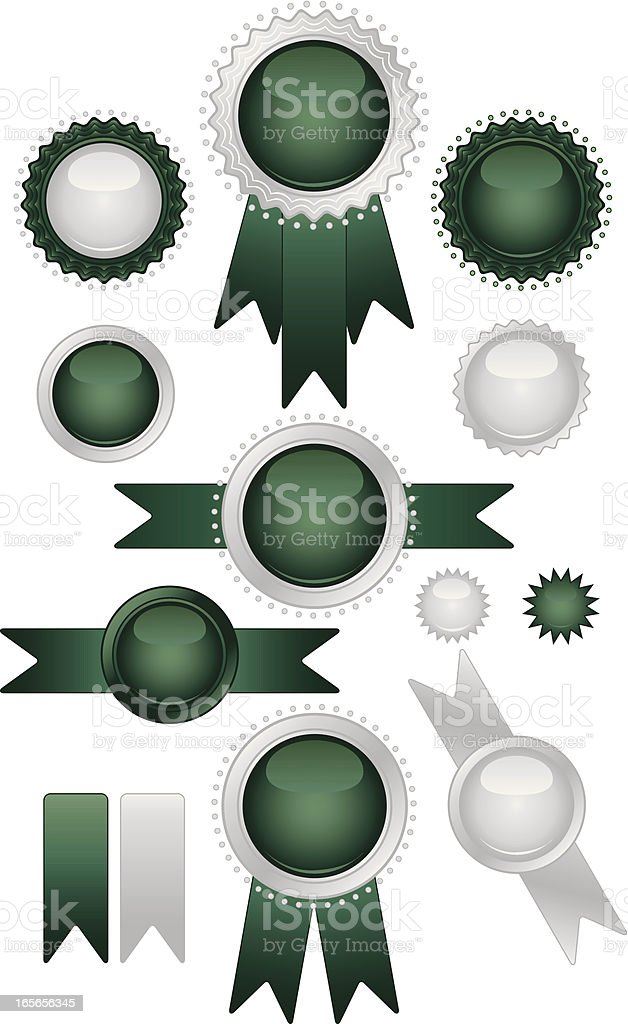 Shiny Green, Silver Seals and Stickers Set royalty-free stock vector art