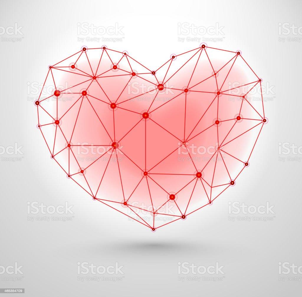 Shiny heart symbol for Valentines Day vector art illustration