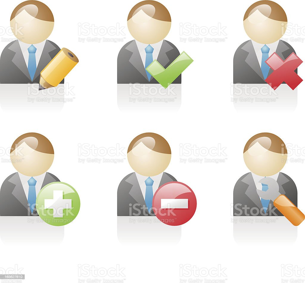 shiny icons: business users royalty-free stock vector art