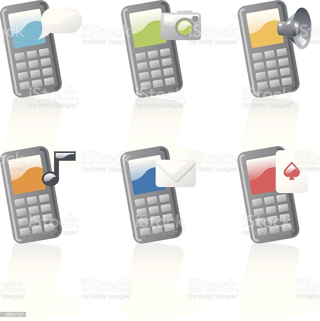 shiny icons: cellphones royalty-free stock vector art