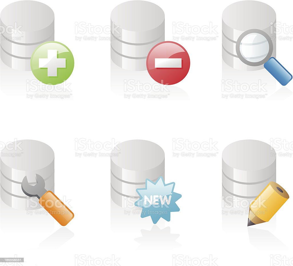 shiny icons: database actions royalty-free stock vector art