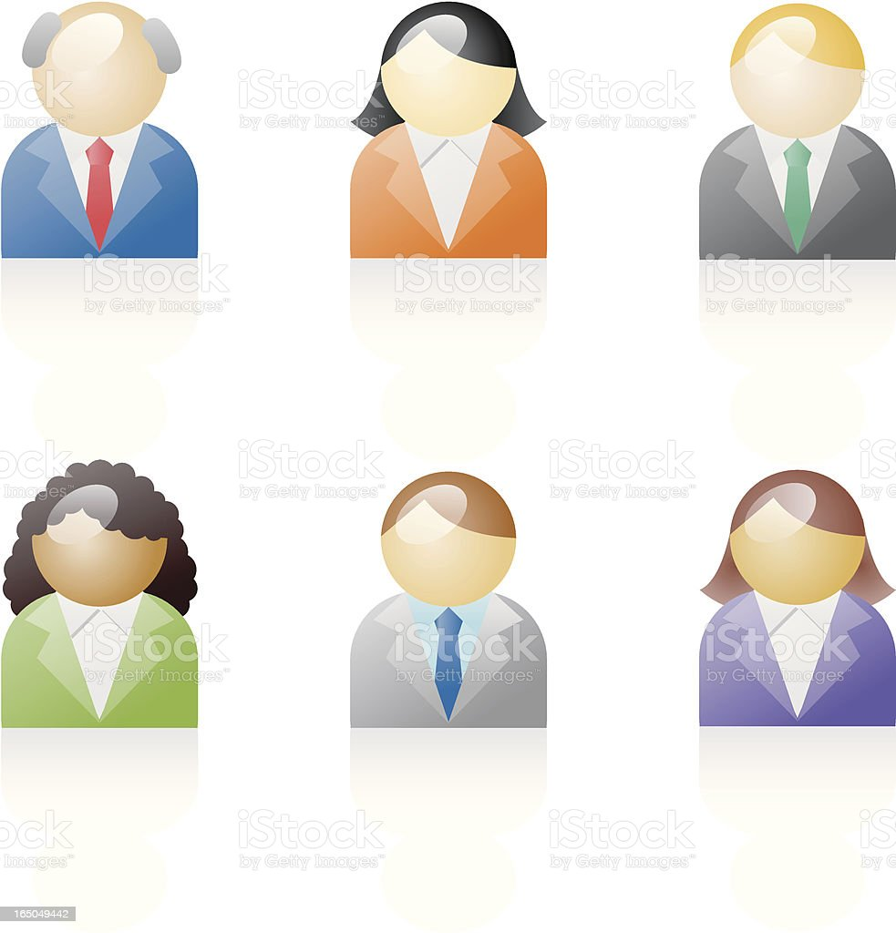shiny icons: diverse people vector art illustration
