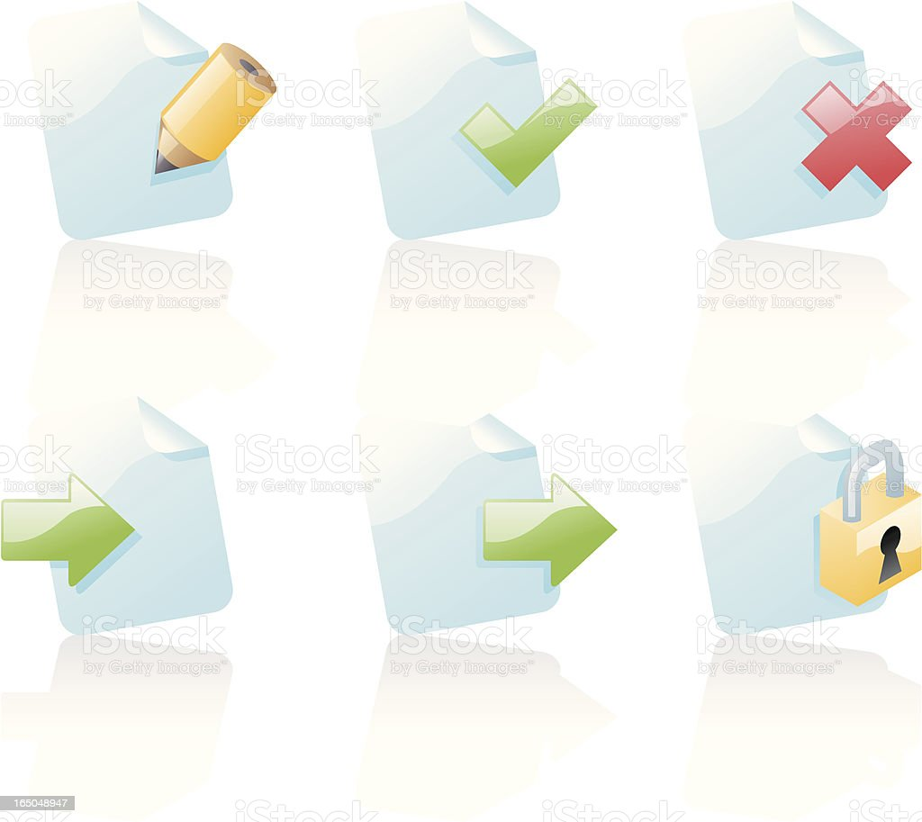 shiny icons: document actions royalty-free stock vector art