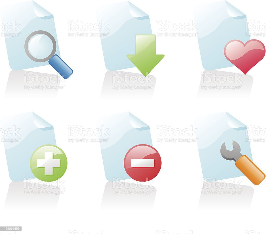 shiny icons: file actions 2 royalty-free stock vector art