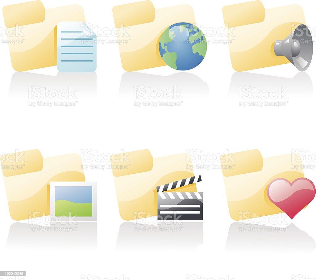 shiny icons: folders royalty-free stock vector art