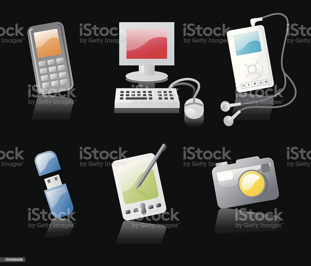 shiny icons: gadgets (on black) royalty-free stock vector art