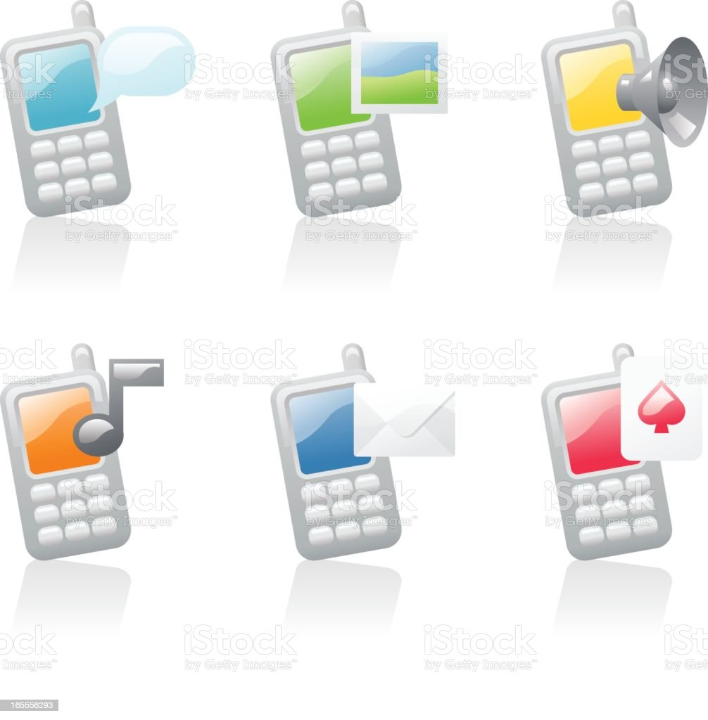 shiny icons: mobile phones royalty-free stock vector art