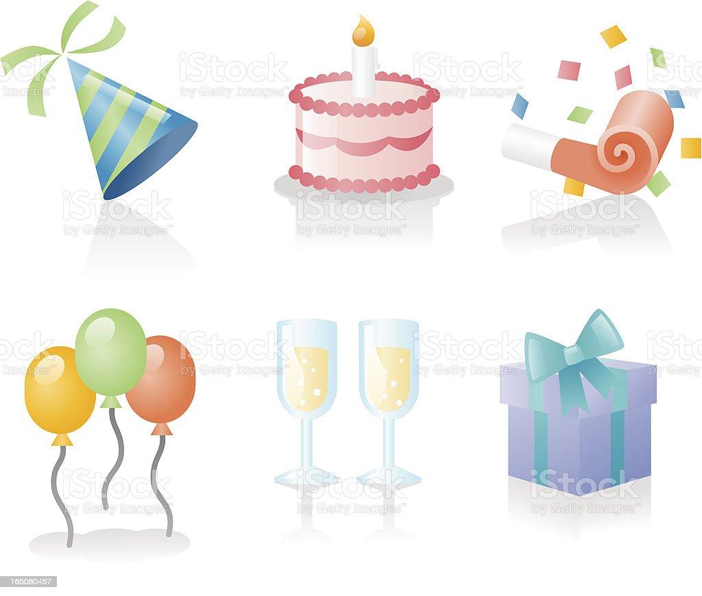shiny icons: party! royalty-free stock vector art
