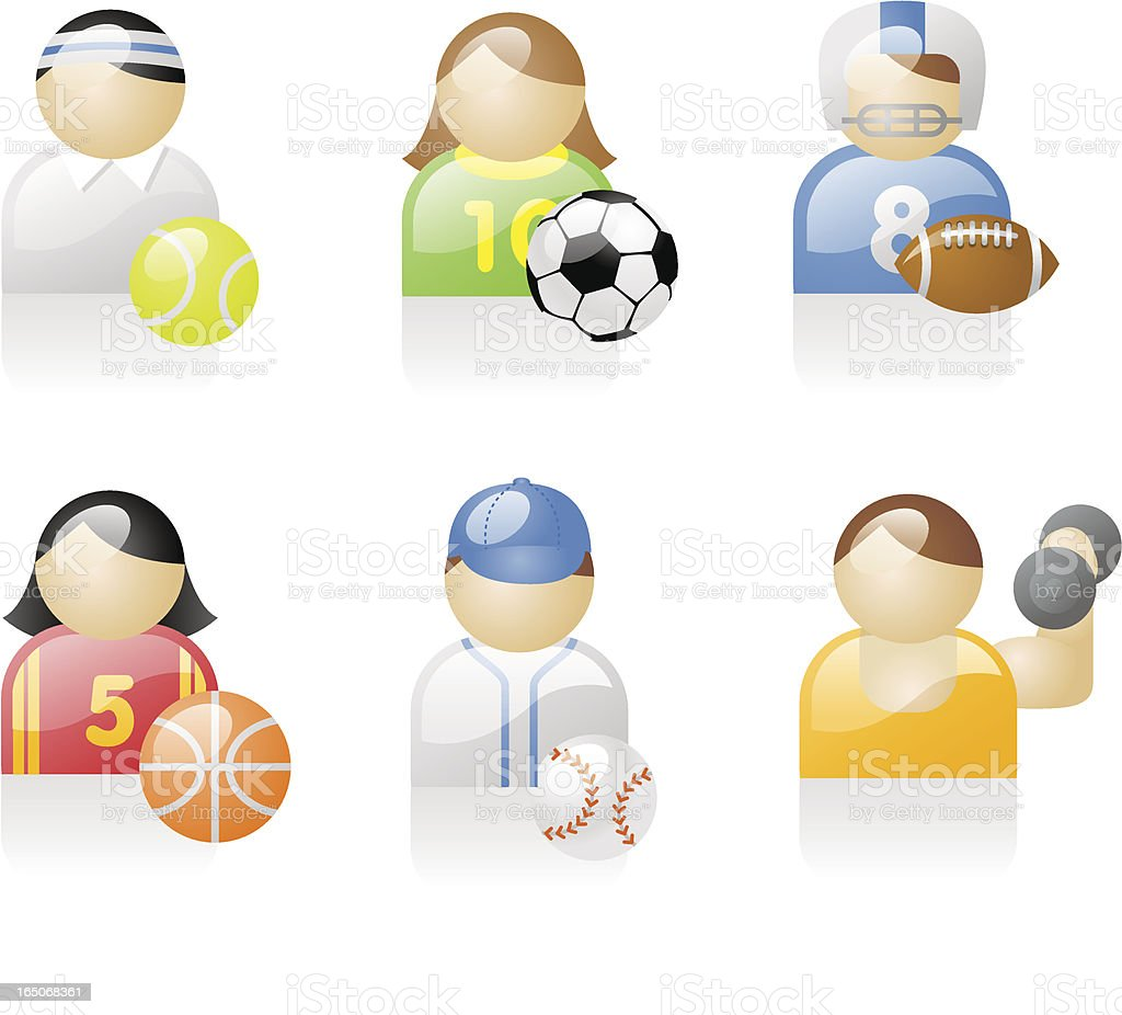 shiny icons: sports people royalty-free stock vector art
