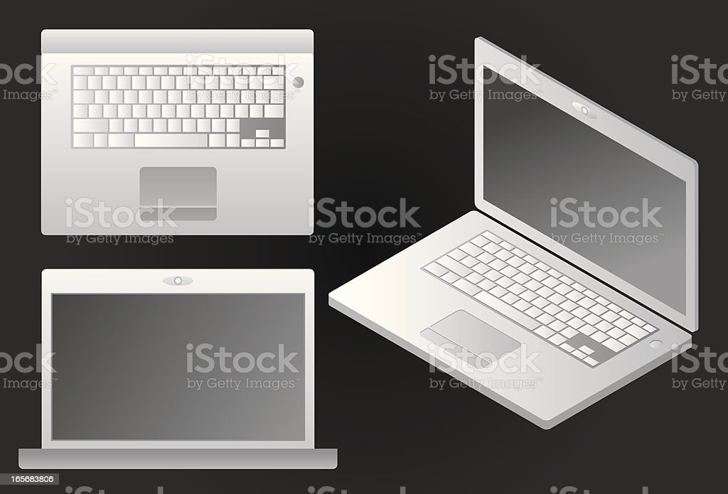 Shiny laptop, various views royalty-free stock vector art