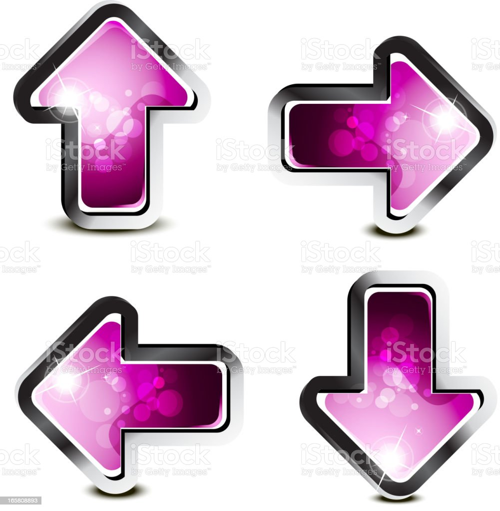 Shiny Magenta Arrows Set royalty-free stock vector art
