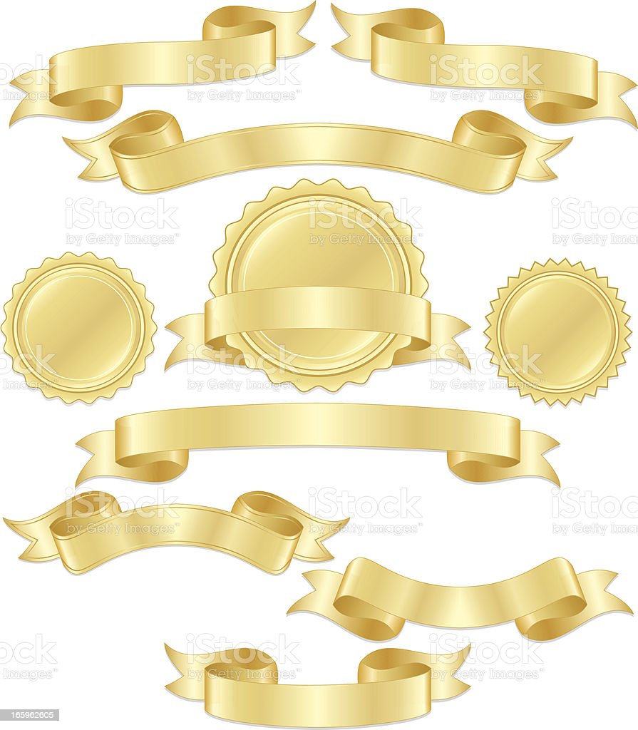 Shiny Metallic Gold Banners, Ribbons, Stickers Set vector art illustration