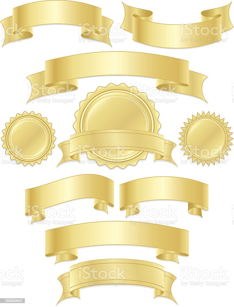 Shiny Metallic Gold Ribbons, Stickers, Banners Set vector art illustration