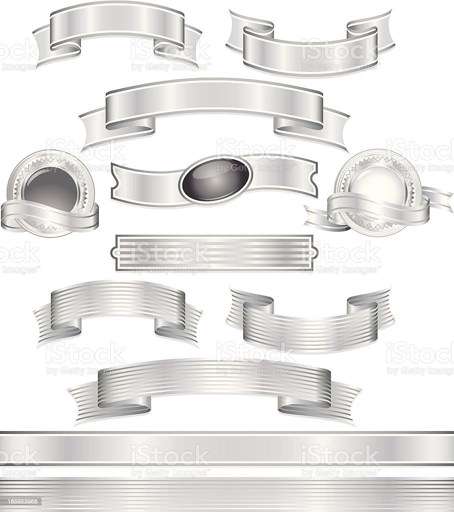 Shiny Metallic Silver Banners, Ribbons, Stickers Set vector art illustration