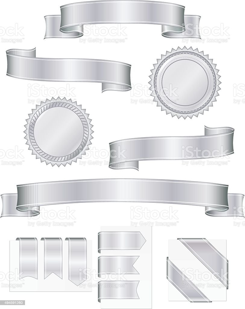 Shiny Metallic Silver Ribbons, Stickers Set vector art illustration