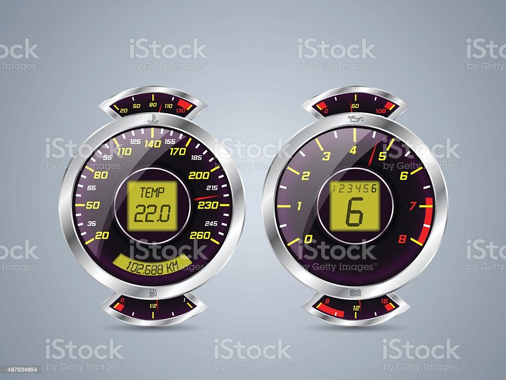 Shiny metallic speedometer and rev counter vector art illustration