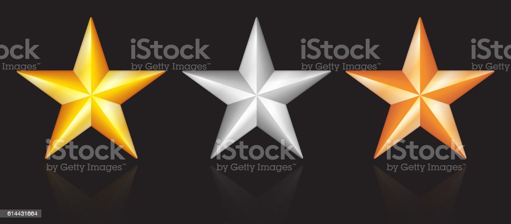 Shiny metallic star designs in gold silver bronze on black vector art illustration