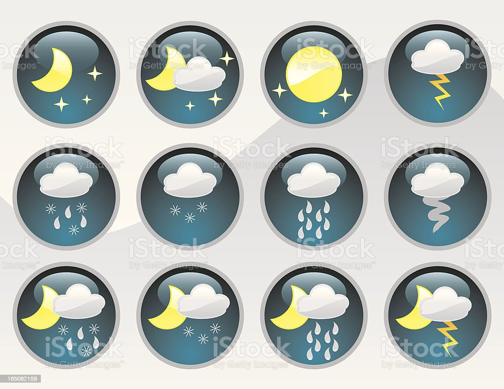 Shiny Night-Time Weather Icons vector art illustration