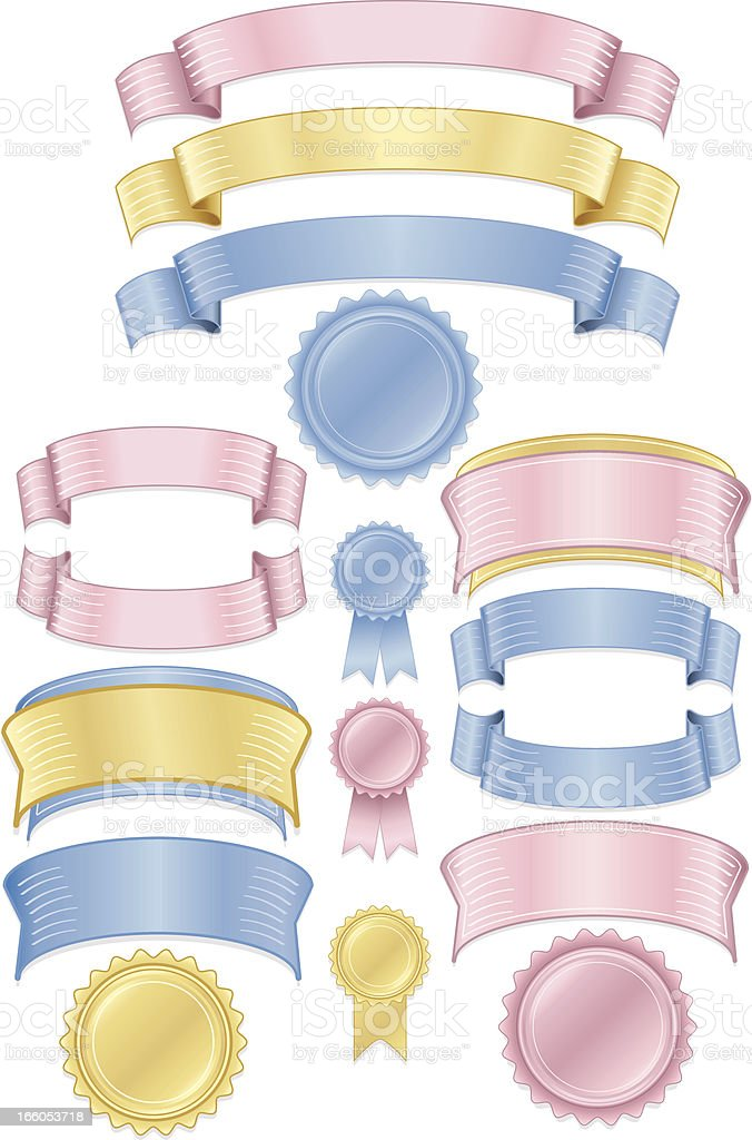 Shiny Pink, Blue, Gold Stickers, Tags, Labels, and Ribbons Set royalty-free stock vector art